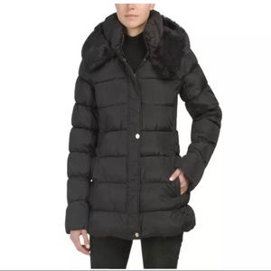 NEW Via Spiga Faux Fur Puffer Jacket Black Size M